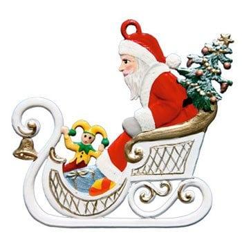 Hanging Santa Pewter Ornaments