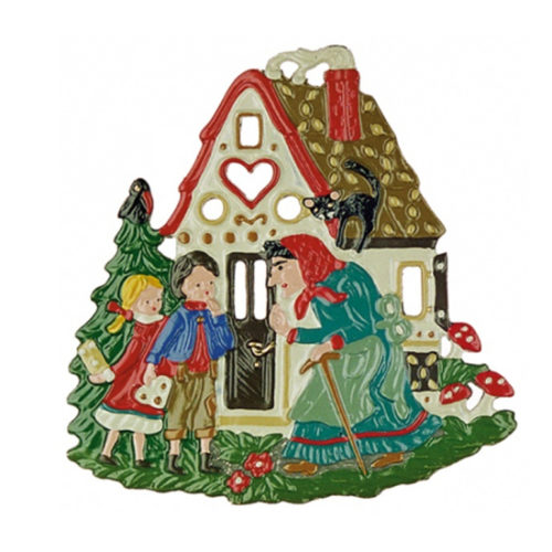 Gingerbread House with Hansel and Gretel – hanging pewter ornament