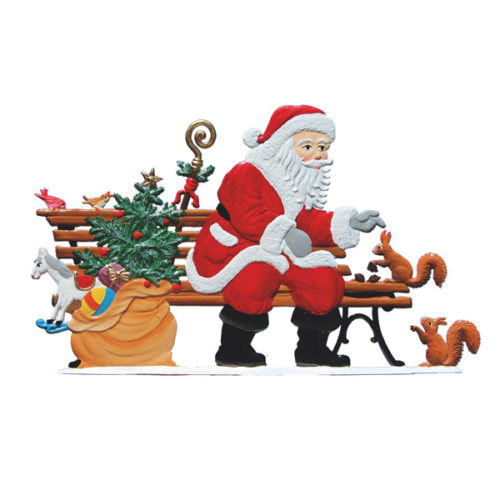 Santa sitting on park bench – standing pewter ornament