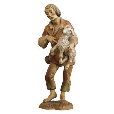 ANRI - Shepherd with lamb - Walter Bacher nativity Linden wood