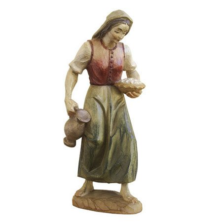 ANRI - Woman with jar and eggs - Karl Kuolt nativity Linden wood
