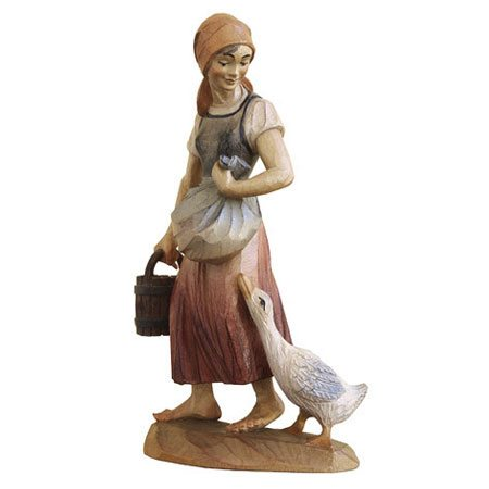 ANRI - Shepherdess with goose - Karl Kuolt nativity Linden wood