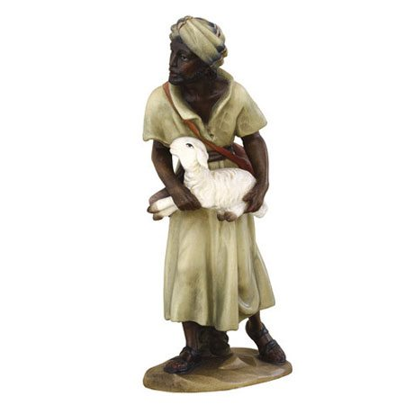 ANRI - Black shepherd with lamb - Ulrich Bernardi nativity