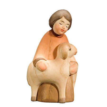 Spielkrippe - Hirte kniend mit Schaf
