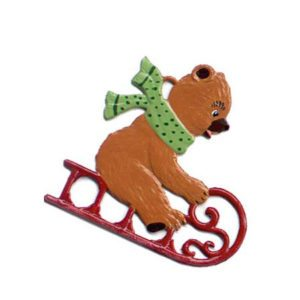 Teddy on sled - hanging pewter ornament