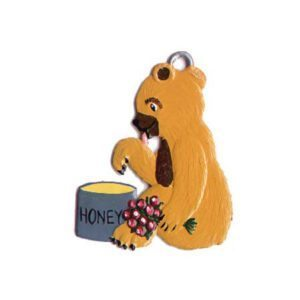 Teddy with honeypot - hanging pewter ornament