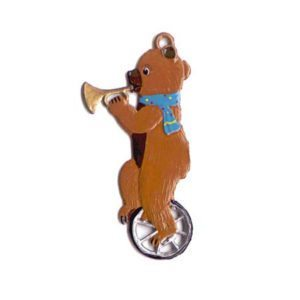 Teddy on the unicycle - hanging pewter ornament