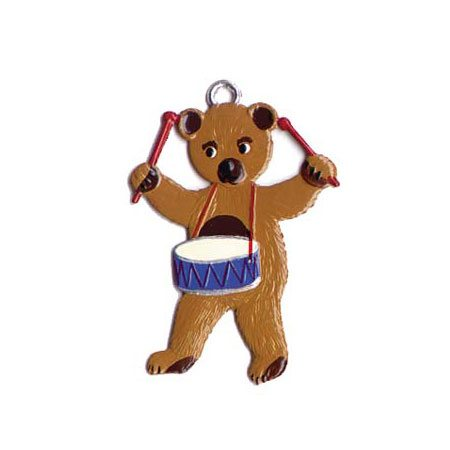 Teddy with drum - hanging pewter ornament