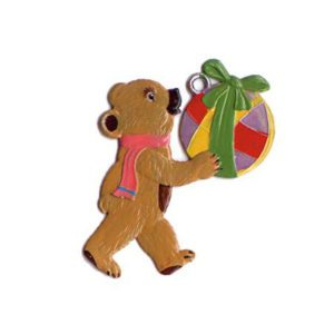 Teddy with ball - hanging pewter ornament