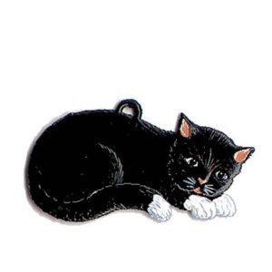 Cat lying - hanging pewter ornament