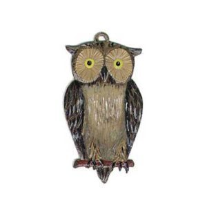 Owl - hanging pewter ornament