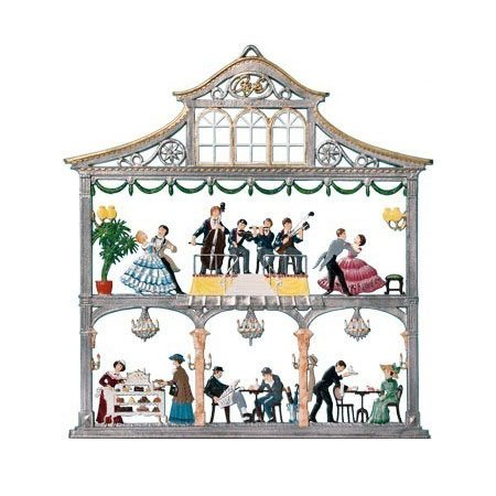 Coffee house - hanging pewter ornament