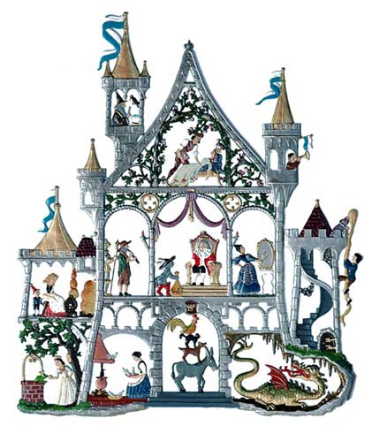 Fairy-tale castle - hanging pewter ornament