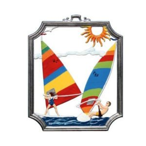 Surfing - hanging pewter ornament