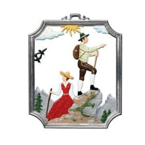 Hiking - hanging pewter ornament
