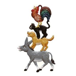Town Musicians of Bremen - hanging pewter ornament