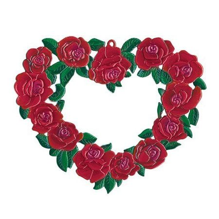 Heart of roses large - hanging pewter ornament