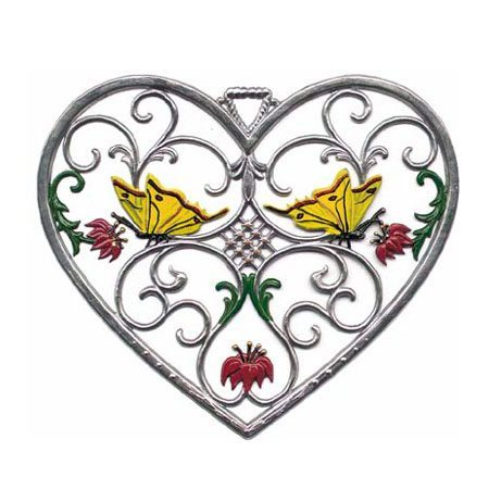 Heart with Butterflies - hanging pewter ornament