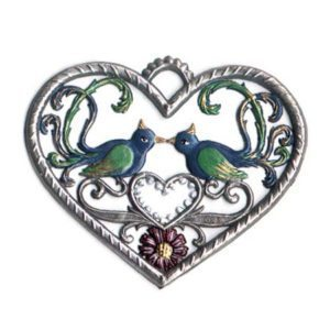 Heart with birds - hanging pewter ornament