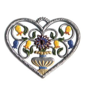 Heart with bellflowers - hanging pewter ornament