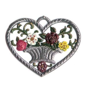 Heart with flowerbasket - hanging pewter ornament