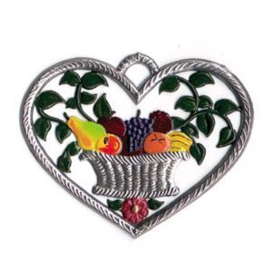 Heart with fruitbasket - hanging pewter ornament