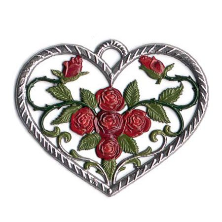 Heart with roses - hanging pewter ornament