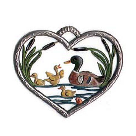 Heart with ducks - hanging pewter ornament