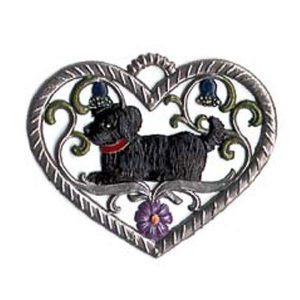 Heart with dog - hanging pewter ornament