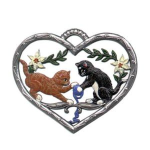 Heart with cats - hanging pewter ornament