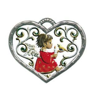 Heart with cherub - hanging pewter ornament