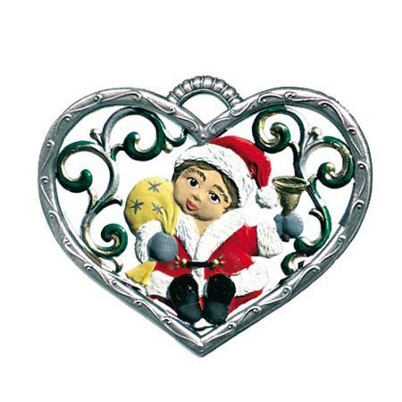 Heart with santa-boy - hanging pewter ornament
