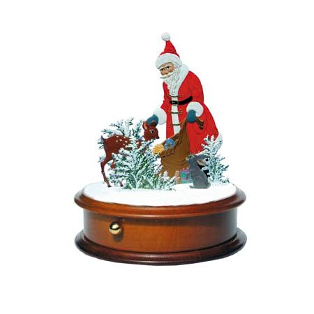 Santa with deer - music box