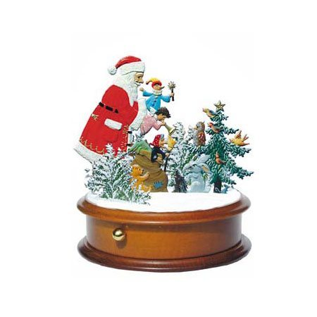 Santa with doll - music box