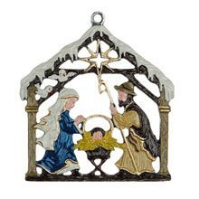 Hanging Nativity Pewter Ornaments