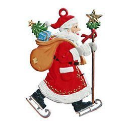Hanging Santa Pewter Ornaments