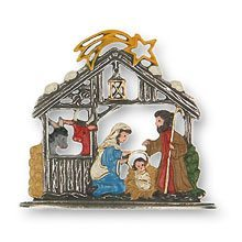 Standing Nativity Pewter Ornaments