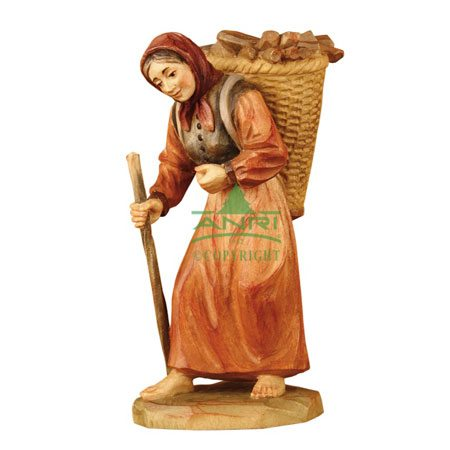 ANRI - Woman with firewood - Karl Kuolt nativity Linden wood