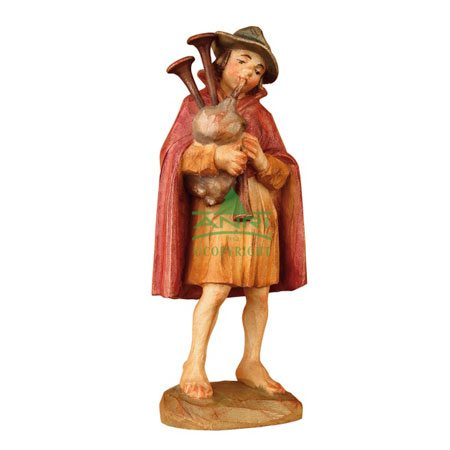 ANRI - Boy with bagpipe - Karl Kuolt nativity Linden wood