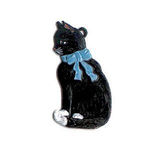 Cat sitting - hanging pewter ornament