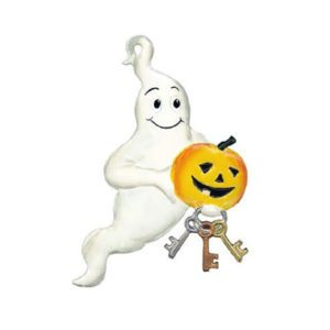 Halloween Ghost - hanging pewter ornament