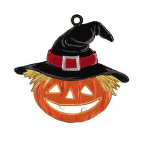 Halloween Pumpkin with Hat - hanging pewter ornament