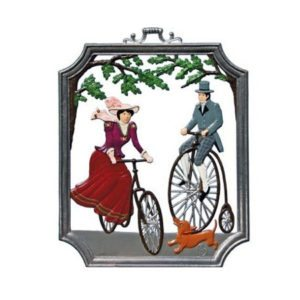 Cycling - hanging pewter ornament