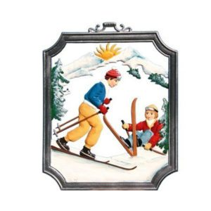 Skiing - hanging pewter ornament