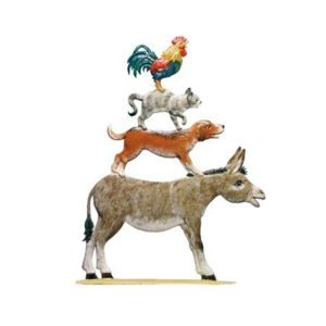 Town Musicians of Bremen - standing pewter ornament