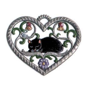 Heart with cat - hanging pewter ornament