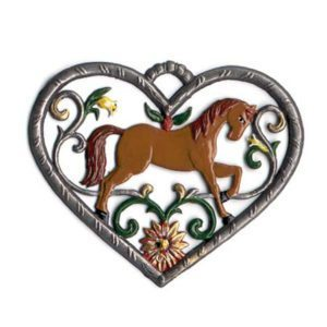 Heart with horse - hanging pewter ornamen
